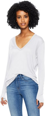 Enza Costa Women's Tissue Jersey Loose Long Sleeve V-Neck