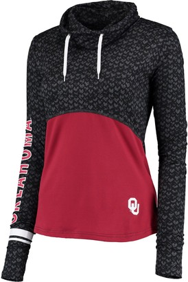 Colosseum Women's Black/Crimson Oklahoma Sooners Scaled Cowl Neck Pullover Hoodie
