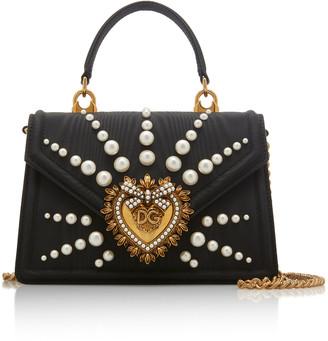 Dolce & Gabbana Devotion Faux-Pearl Embellished Leather Shoulder Bag