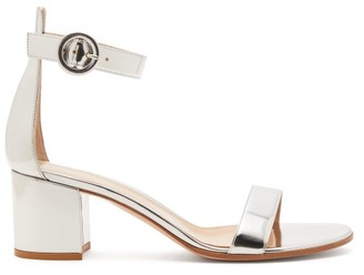 Gianvito Rossi Portofino 60 Metallic Leather Sandals - Silver