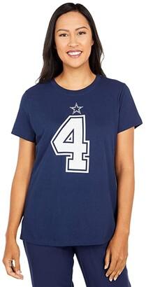 Dallas Cowboys Dallas Cowboys Nike Dak Prescott #4 Name Number Tee (Navy) Women's Clothing