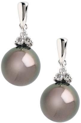 Fine Jewellery 10K White Gold Diamond And Black 8mm Pearl Earrings