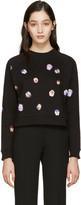 Christopher Kane Black Pansy Floral Pullover