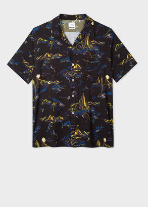 Paul Smith Men's Classic-Fit Black 'Mountain' Print Short-Sleeve Shirt