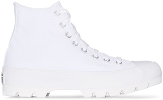 Converse White Chuck Taylor All Star lugged high top sneakers
