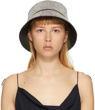 Kara White Crystal Mesh Bucket Hat