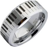 MJ Metals Jewlery 8mm White Tungsten Carbide Wedding Piano Keyboard Band Polished Edges Ring Size 9