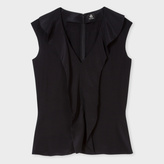 Paul Smith Women's Black Sleeveless Silk Top With Ruffle Front