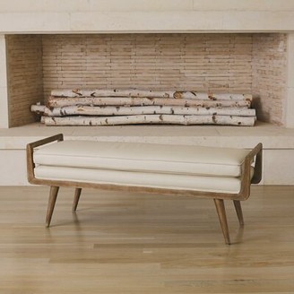 Global Views Lucas Long Faux Leather Bench
