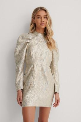 Lizzy X NA-KD Puffy Sleeve Pattern Mini Dress