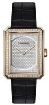 Chanel BOY·FRIEND Black Alligator Watch with Diamonds