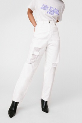 Nasty Gal Womens Nothing But Trouble Relaxed Distressed Jeans - Ecru