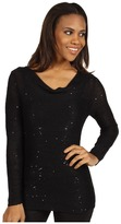 Calvin Klein Jeans Drape Neck Sequin Sweater (Black) - Apparel