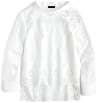 J.Crew J. Crew Funnel Neck Eyelet Shirt (Regular, Petite & Plus Size)