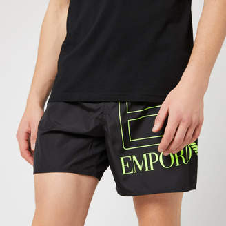 Emporio Armani Men's Sea World BW Big Logo Boxer Swim Shorts