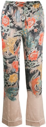 Valentino Printed Silk Flared Trousers