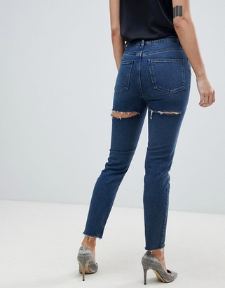 ASOS DESIGN Recycled Farleigh high waisted slim mom jeans in dark london blue wash with bum rip