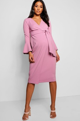 boohoo Maternity Ruffle Sleeve Wrap Dress