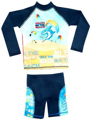 Color Fingers Boys' Board Shorts A/S - Blue Beach Sharks Long-Sleeve Rashguard Set - Toddler & Boys