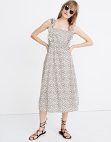 Madewell Ruffle-Strap Square-Neck Midi Dress in Fieldwalk Floral