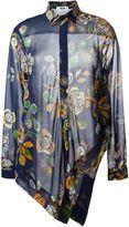 MSGM asymmetric floral print shirt - women - Silk - 40