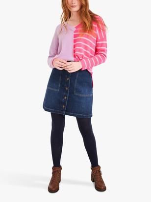 White Stuff Vale Stripe Cashmere Jumper, Bright Pink