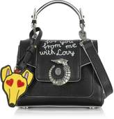 Trussardi Lovy Black Saffiano Leather Mini Crossbody Bag w/Emoticon Luggage Tag