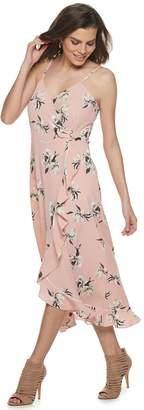 JLO by Jennifer Lopez Women's Flounce Faux-Wrap Dress