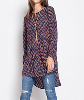 Blu Heaven Navy Floral Button-Front Hi-Low Tunic