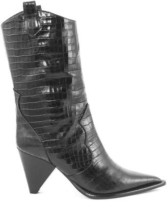 Aldo Castagna Black Leather Desi Boots
