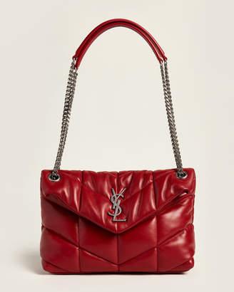 Saint Laurent Eros Red LouLou Puffer Small Shoulder Bag
