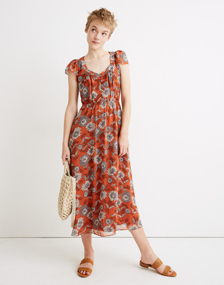 Madewell Petite Sheer-Sleeve Button-Front Midi Dress in Gathered Blooms