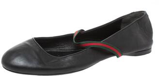 Gucci Black Leather Web Elastic Mary Jane Ballet Flats Size 38