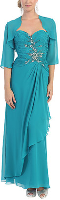 Mayqueen MayQueen Women's Special Occasion Dresses Teal - Teal Strapless Gown & Shrug - Women