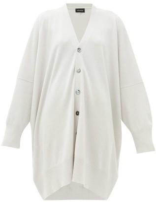 eskandar Long-line Cashmere Cardigan - Light Grey