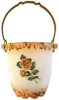 One Kings Lane Vintage Murano Glass Cottage Rose Ice Bucket - Osprey Blu - white/pink/gold