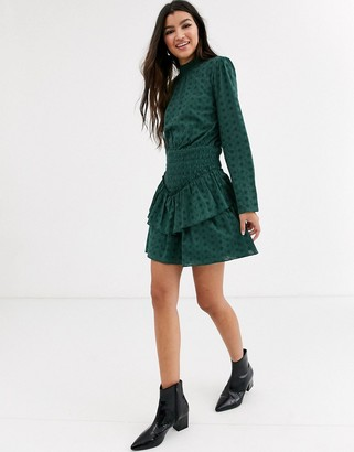 Asos Design DESIGN broderie high neck shirred waist mini dress-Green