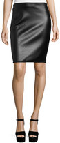 Max Studio Textured Faux-Leather Pencil Skirt, Black