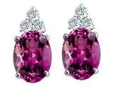 Tommaso design Studio Tommaso Design Oval 8x6mm Genuine Rhodolite and Diamond Earrings 14k