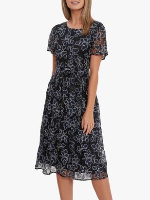 Gina Bacconi Moriko Embroidered Dress, Navy