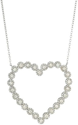 Nina Gilin Black Rhodium-Plated Silver & Diamond Cluster Open Heart Pendant Necklace