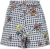 River Island Womens Blue check floral embroidered shorts
