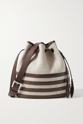 Hunting Season Leather-trimmed Fique Bucket Bag - Dark brown