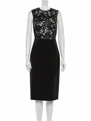 Saint Laurent Lace Pattern Midi Length Dress Black