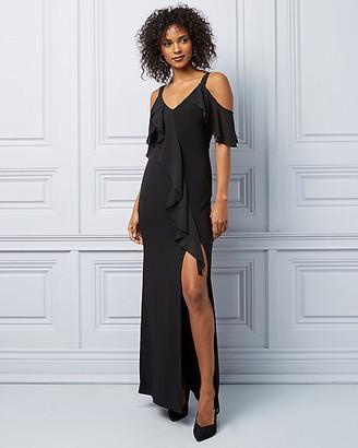 Le Château Knit Cold Shoulder Ruffle Gown