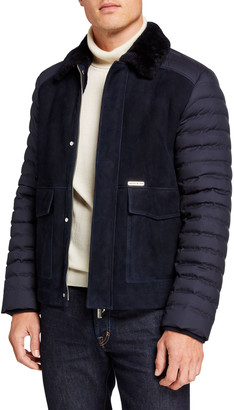 Stefano Ricci Men's Quilted-Sleeve Leather Jacket