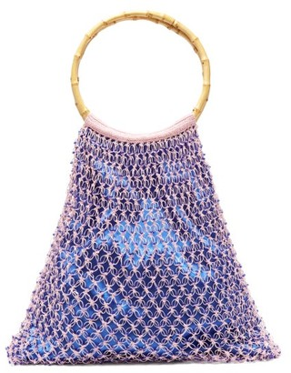 My Beachy Side - Aphrodite Bamboo Handle Beaded Crochet Bag - Womens - Blue Multi