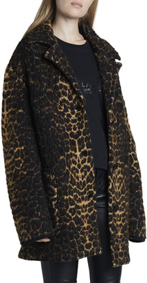 Saint Laurent Leopard Jacquard 3-Button Coat
