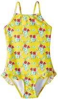 Snapper Rock Girls' Lemon Floral One Piece Swimsuit (2T6) - 8155109