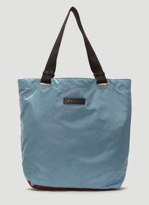 Marni Contrast Panel Nylon Tote Bag in Blue